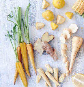Carrots, ginger, corn