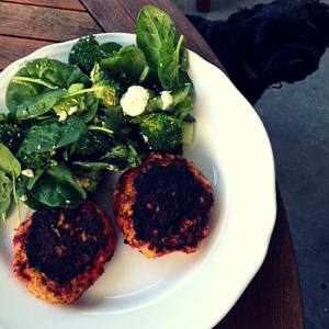 Gluten Free Chicken & Vege Rissoles with salad